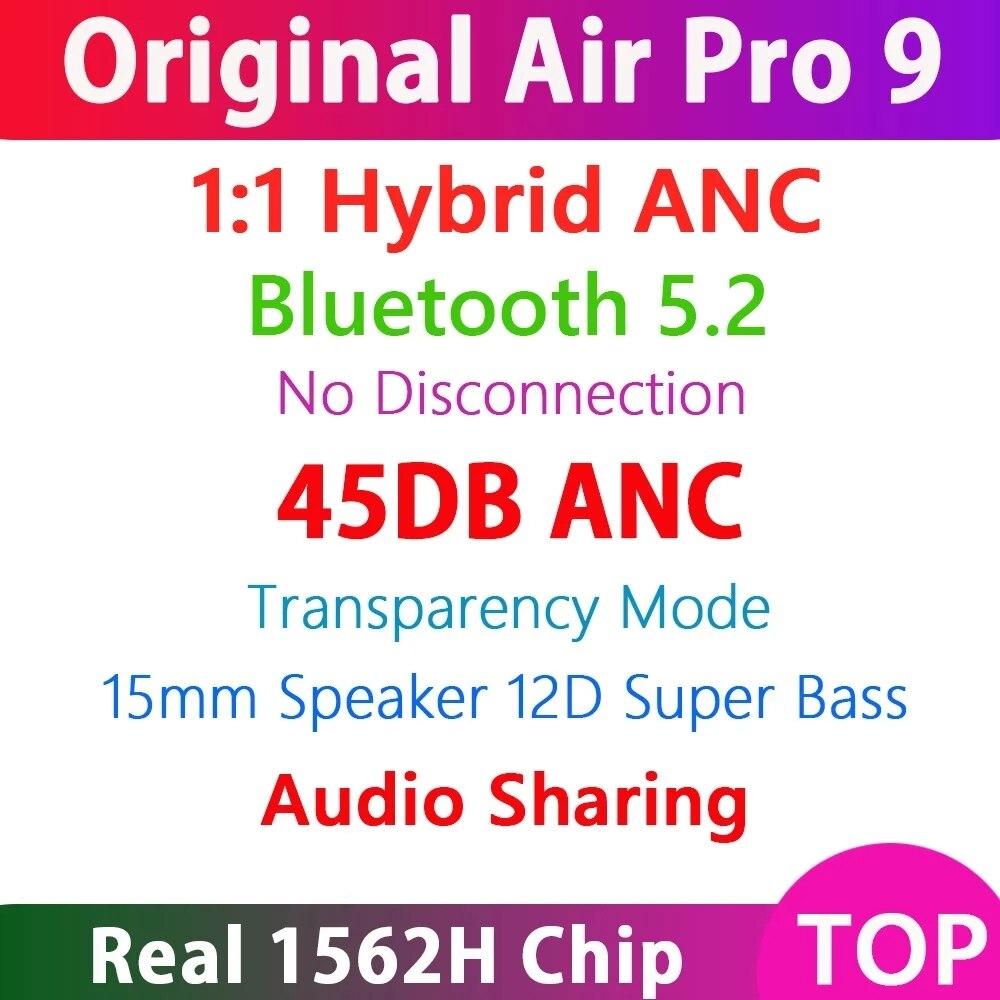 Air Pro 9 TWS Wireless Bluetooth 5.2 Earphone 45DB Hybrid ANC Earbuds Super Bass Quality 1562H PK H1 1562A i900000 MAX ANC Air13